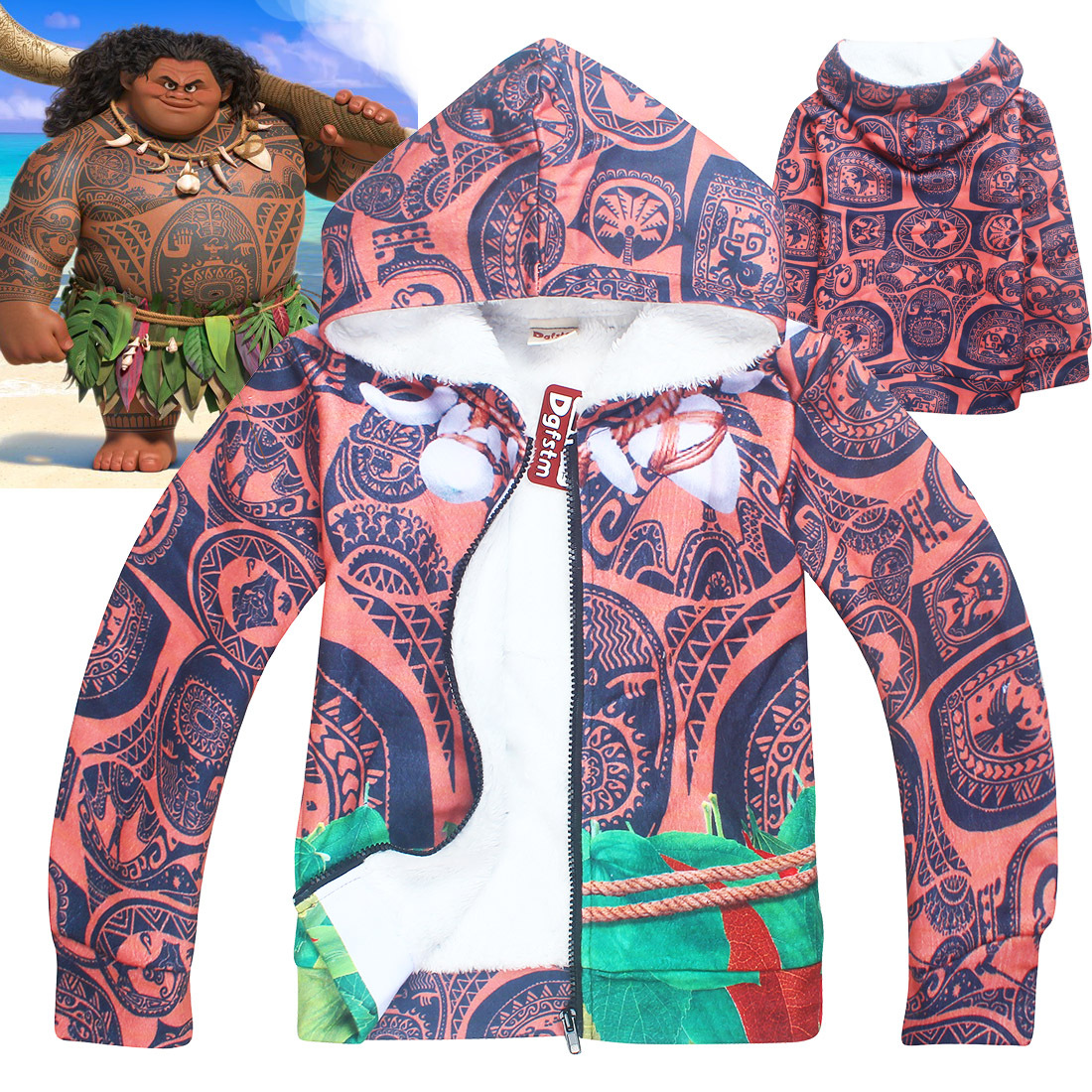 New Moana Maui Sweatshirts Hoodies Coats Kid Boys Girls Wool winter Thicker Coat Children Vaiana Thick Zipper Hoodie Shirts