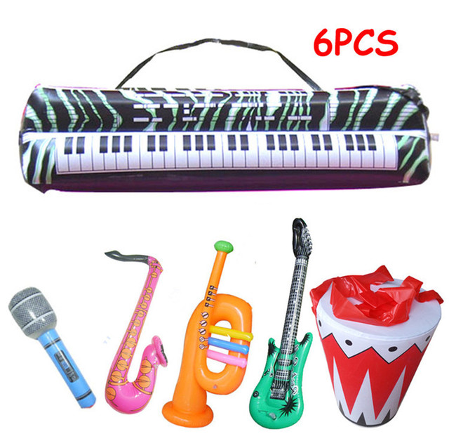 6pcs Set Simulation Inflatable Toys Musical Instrument Drum Organ Sax Horn Microphone Guitar For Children