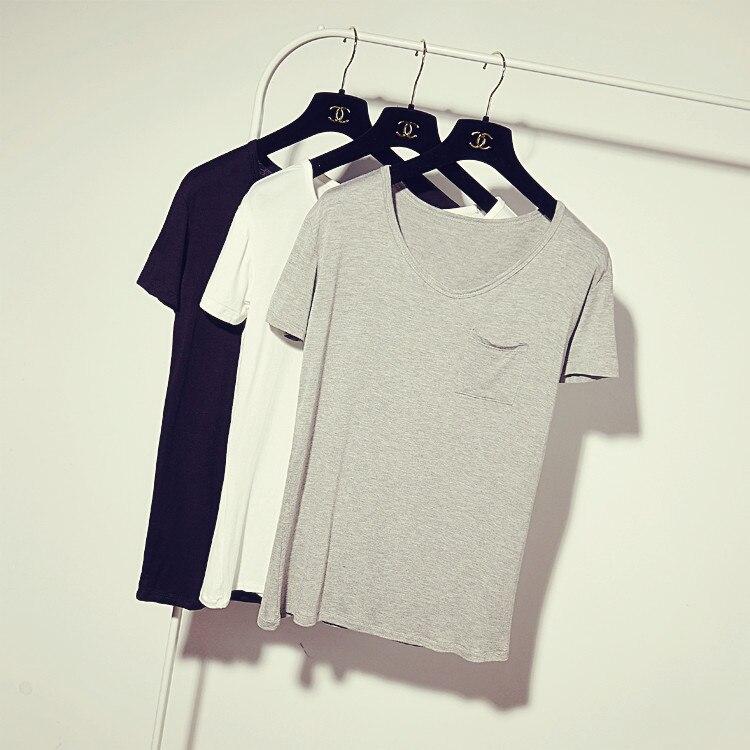 Moda Estate 2015 delle Donne Modale della Tasca di Colore Solido T shirt  Signore Breve Allentato Pullover maniche Corte Tees Tops a5e0d90c275