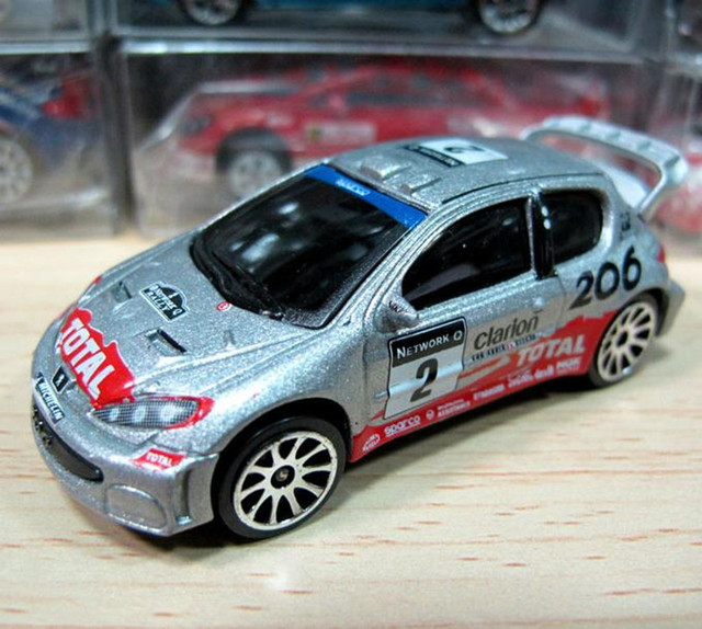 1:64 scale alloy car model,high simulation PEUGEOT 206 Rally car ...