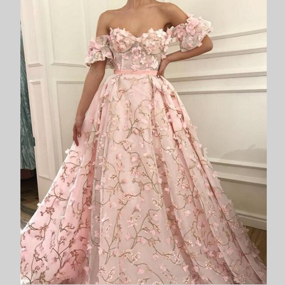 Long   Evening     Dresses   Flowers Saudi Arabic New Women Formal Gown For Prom Wedding Party   Dresses   Robe De Soiree