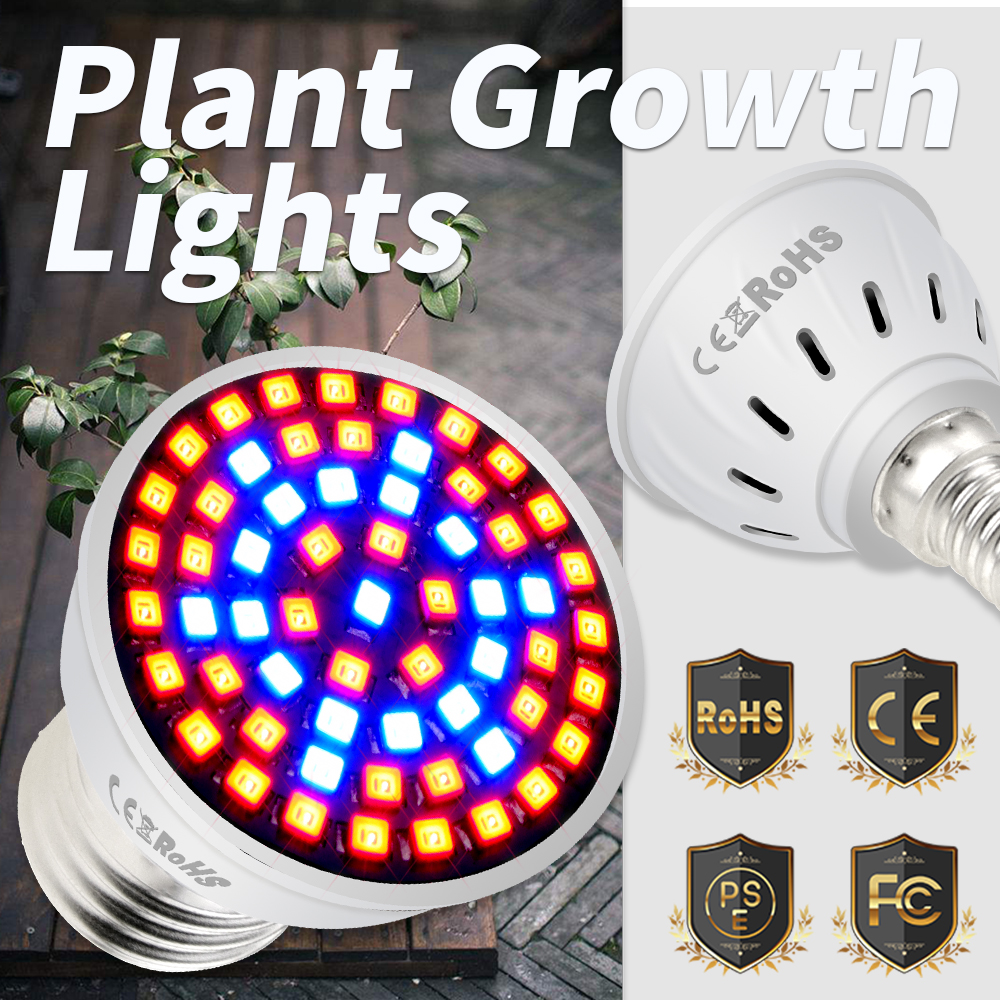 E27 LED Phytolamp Greenhouse 220V GU10 Led Grow Light B22 Led Indoor Plant Lamp E14 UV Bulb Seedling 4w 6w 8w Groeilampen Gu5.3