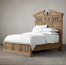 Country Style Solid Wood Carved Bed Top Quality Headboard Classic Furniture