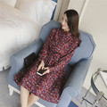New 2017 Spring Chiffon Dress Women Bow Turn-down Collar Vintage Dress Long Sleeve Floral Print Dresses Vestidos Elegant Dress