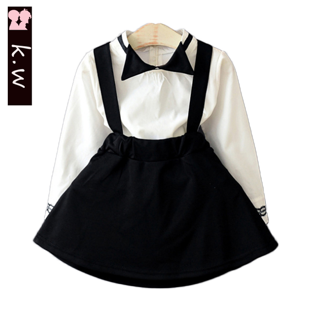 KW Brand School Style 2Pcs Girls Clothing Sets 2017 Spring Brief Kids Clothes for Girls Suit Fashion Girls Costume