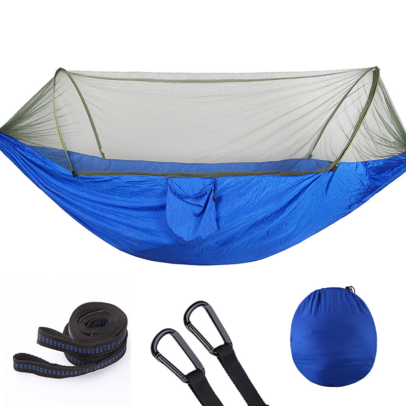 Automatic unfolding Outdoor Camping Hammock with Mosquito Net Parachute Hammocks Beds Hanging Swing Sleeping Bed Tree Tent in Hammocks from Furniture