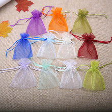 50Pieces /lot (7.5*10cm) Organza Gift Bags Jewelry Drawstring Pouches Wedding Christmas Party Bags Small Pocket Wholesale