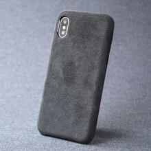 حقيبة لهاتف أي فون 7 8 زائد X XS ماكس XR الفاخرة الايطالية الجلد المدبوغ مثل النسيج غطاء ناعم جلد كابا طبقة من قسط إلى الهاتف قذيفة