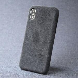 Image 1 - 케이스 아이폰 7 8 플러스 x xs 맥스 xr 럭셔리 이탈리아 스웨이드 패브릭 커버처럼 downy leather capa 프리미엄 쉘 쉘