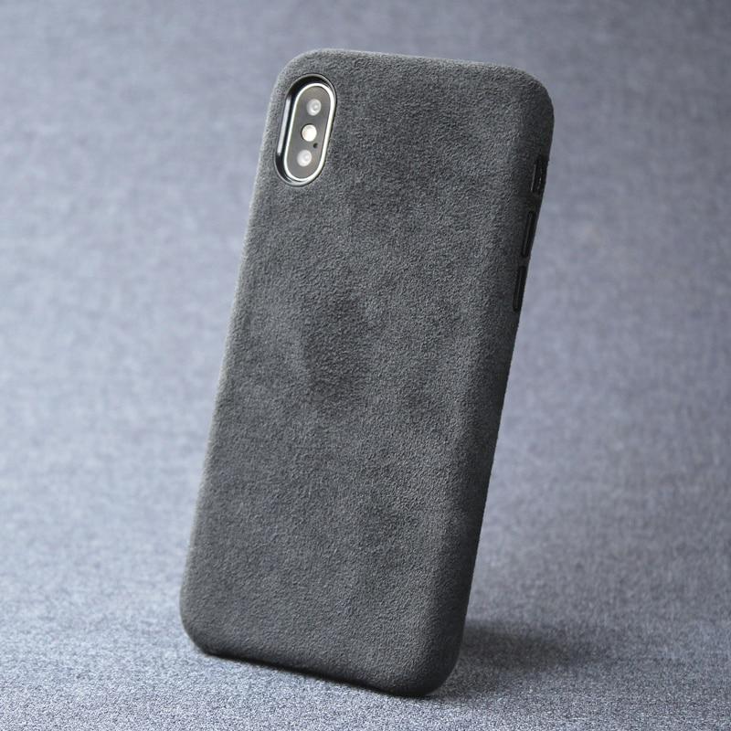 Cas Pour iPhone 7 8 plus X XS Max XR de luxe Daim Italien comme Tissu Couverture Duveteux En Cuir Capa un couche de prime à téléphone Shell
