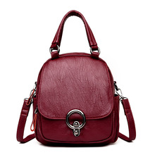 Multifunction Backpack Women Soft PU Shoulder Bag High Quality Leather Female Bagpack Convertible Ladies Rucksack