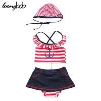 4 PCs Baby Girl Sailor Bathing Suit Anchor Swimwear Striped Bikini Set Strap Hat Ruffled Tops