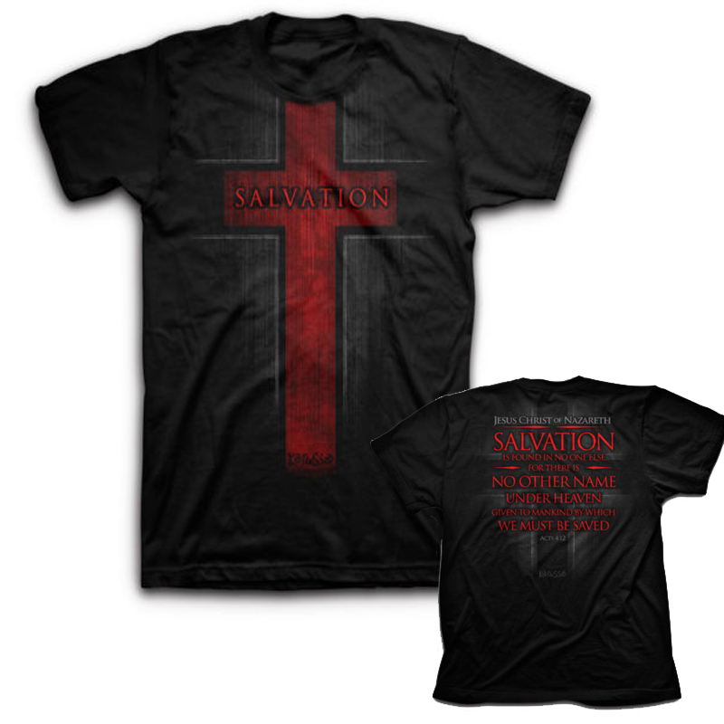 Christian SALVATION Jesus   t     shirt   men two sides Short Sleeve casual printed tee US plus size s-3xl