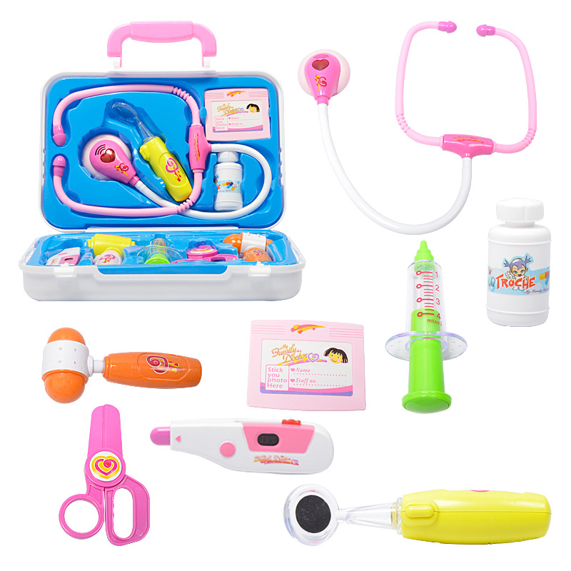 Plastic Kids Pretend Doctor Toys Pretend Play Toys For Kids Doctor Tools Toys Medical Box Children Boy Girl Birthday Gifts GW04