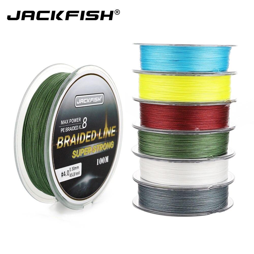 Jackfish 8 strand 100 m pe trançado linha de pesca super forte linha de pesca com pacote carpa pesca de água salgada suave linha trançada