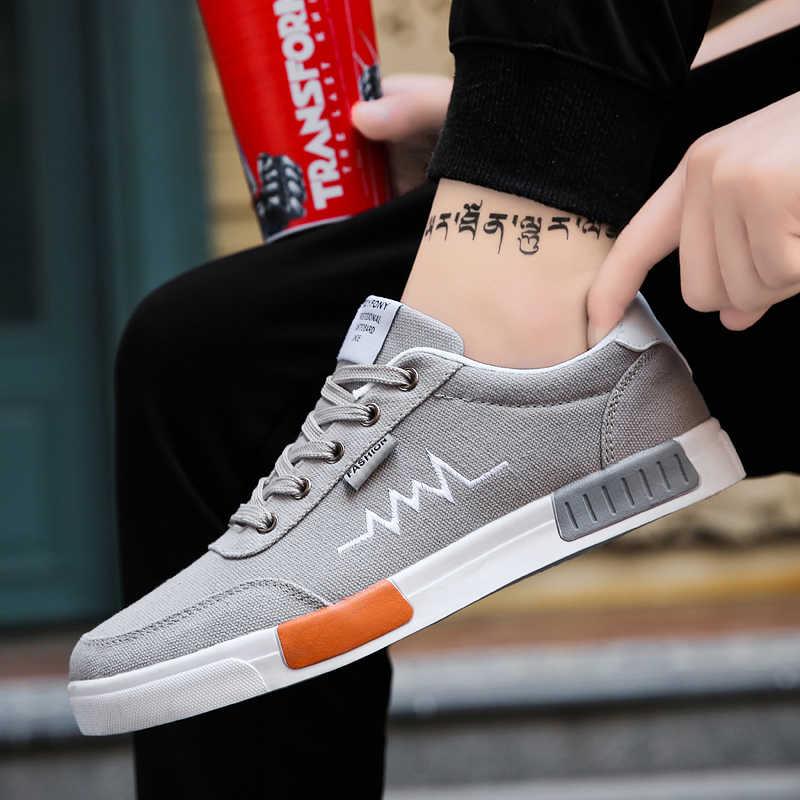 LAKESHI Yeni 2019 İlkbahar Yaz kanvas ayakkabılar Erkekler Sneakers Düşük üst siyah ayakkabı gündelik erkek ayakkabısı Erkek Marka Moda Ayakkabılar