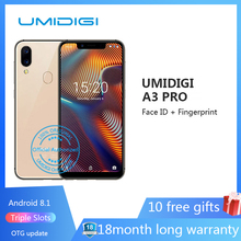 "UMIDIGI A3 Pro 5.7""19:9 Full Screen smartphone 3GB+32GB Android 8.1 12MP+5MP mobile phone Dual 4G GSM+FHD+OTG unlocked cell phon(China)"