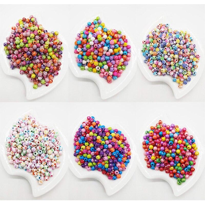 100 шт./лот 6 мм разноцветный блестящие акриловые Круглые бусины для DIY Браслеты и ожерелья Jewelry аксессуары для рукоделия