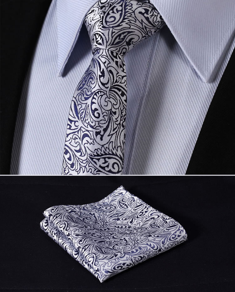 "TF1013B5 Navy Blue Silver Paisley 2.17"" 100%Silk Woven Slim Skinny Narrow Men Tie Necktie Handkerchief Pocket Square Suit Set"