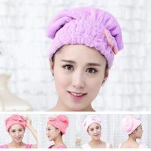Новинка, 5 цветов, полноцветная шапочка для душа, обернутые полотенца из микрофибры, шапки для ванной, одноцветная сверхтонкая шапка для быстрой сушки волос, аксессуары для ванной