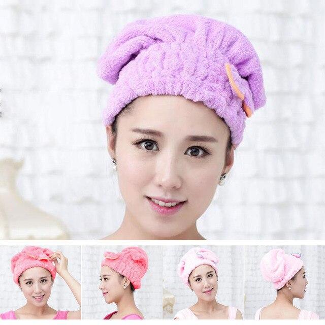 Nowy 5 kolor kolorowe czapka z daszkiem owinięte ręczniki z mikrofibry łazienka czapki jednolity Superfine szybko suche włosy kapelusz akcesoria łazienkowe