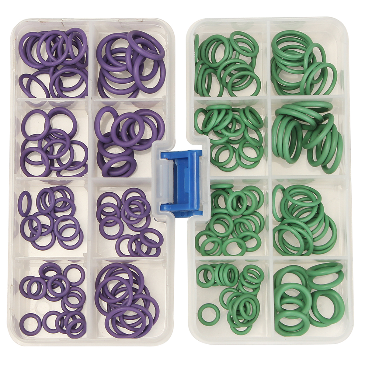 2 Colors Choices 145Pcs A/C R134a System Air Conditioning O Ring Seals Washer Kit Purple/Green O Type Rubber Ring