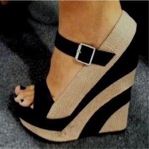 SHOFOO shoes., Красивая и модная женская обувь, разноцветная ткань, обувь на танкетке 14,5 см, туфли-лодочки с открытым носком, размер 34-45