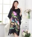 Verão Novo Solto Casual Feminino Sexy Camisola de Cetim de Seda Kimono Yukata Vestido Flor Elegante Robe Bathrob Vestido Plus Size WR078