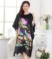 Verano Nueva Loose Casual Mujer Sexy Camisón de Satén de Seda De Yukata Kimono Bathrob Vestido Elegante Flor Robe Dress Plus Size WR078