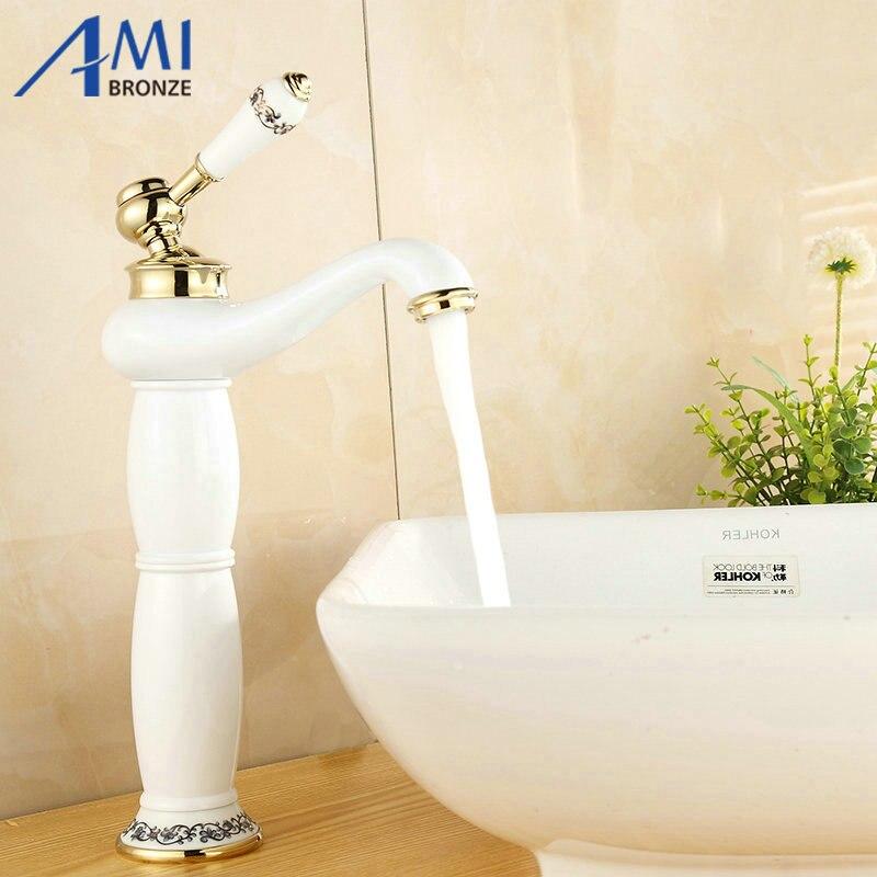 13 white rubinetti lavandino del bagno bacino rubinetto in ottone porcellana dipinta miscelatore 9032wp