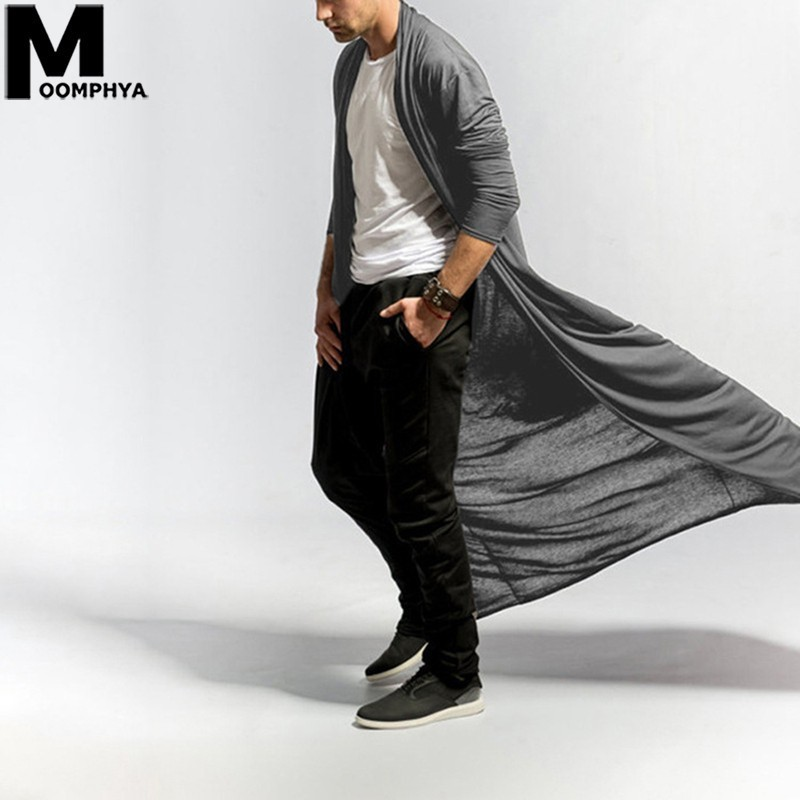 Moomphya Men Clothes 2019 Trench Coat Men Streetwear Hip Hop Long Style Windbreaker Cardigan Plain Fashion Men Outerwear Coat