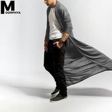 Moomphya mężczyźni odzież 2019 trencz mężczyźni Streetwear Hip Hop długi styl wiatrówka sweter zwykły moda mężczyźni odzież wierzchnia płaszcz tanie tanio Wykop COTTON Poliester Pełna X długości O-neck Stałe Otwórz stitch Cienkie Poliester bawełna NONE Luźne Men Windbreake