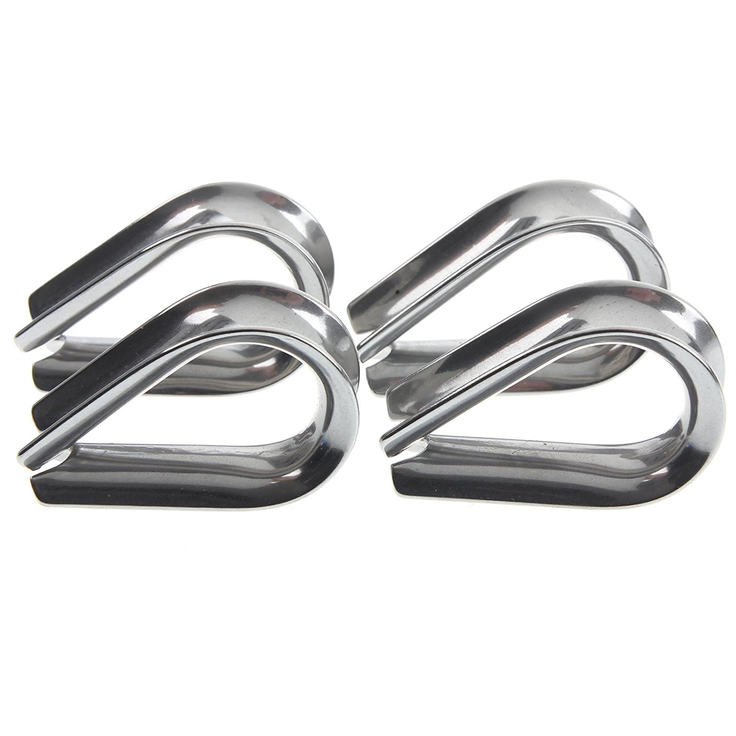 GTBL 4 X Stainless Steel - 3mm Wire Rope Loop Rope Thimbles