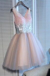 Image 5 - Robes de bal courtes marcher à côté de vous robe de bal rose gris pailleté col en v élégant soirée formelle robe de fête robe formatura curto