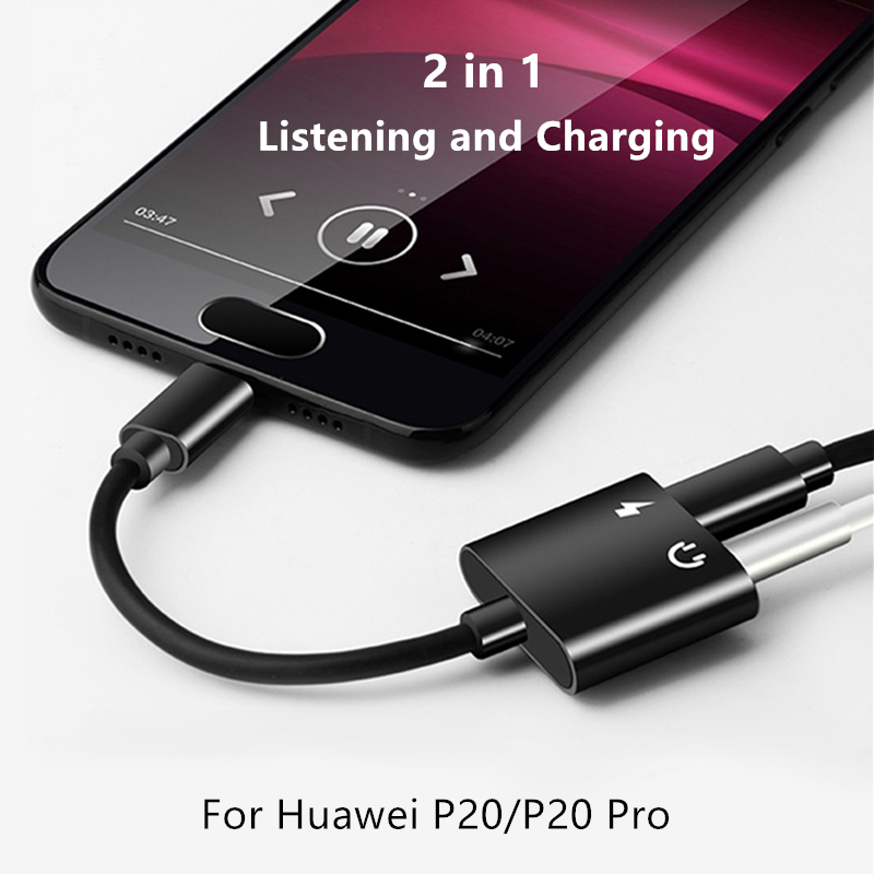 USB Type-C Audio Charging Adapter 2 in 1 Type C Male to Female 3.5mm Headphone Jack + Charging Converter For Huawei P20/P20 Pro