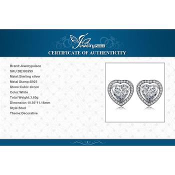Love Heart CZ Stud Sterling Silver Earrings  5