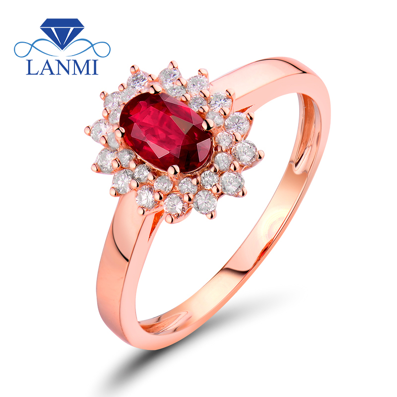 Classical Marriage ceremony Rings For Girls Oval Reduce 4X6Mm Purple Ruby 18Kt Rose Gold Pure Diamond Ring Wu52Ru