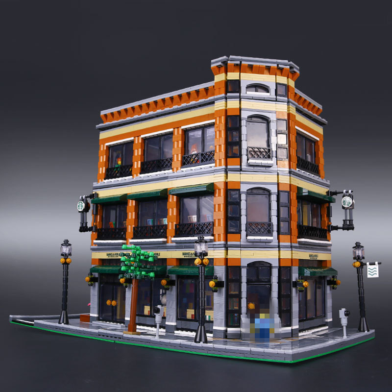 Lepin 15017 City Street Bookstore and Starbucks Cafe Assembling Building Blocks Kits Blocks Compatible boys girls education футболка рингер printio belles book cafe starbucks