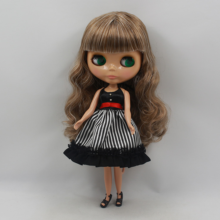 ФОТО Free shipping Bonecas 30cm fashion Blyth nude doll brown color long hair with bangs DIY dolls bythe doll for sale