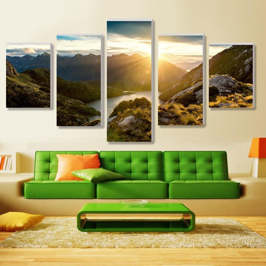 Mod de peisaj HD 5 bucăți de pânză artă de decorare a casei - Decoratiune interioara - Fotografie 4