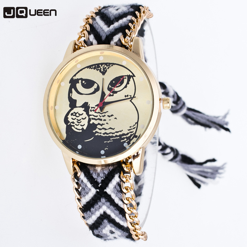 Korean Style Cheap Watches Ladies Braided Rope Bracelet Clock Lindo Fashion Colorful Owl Pattern Quartz Girls