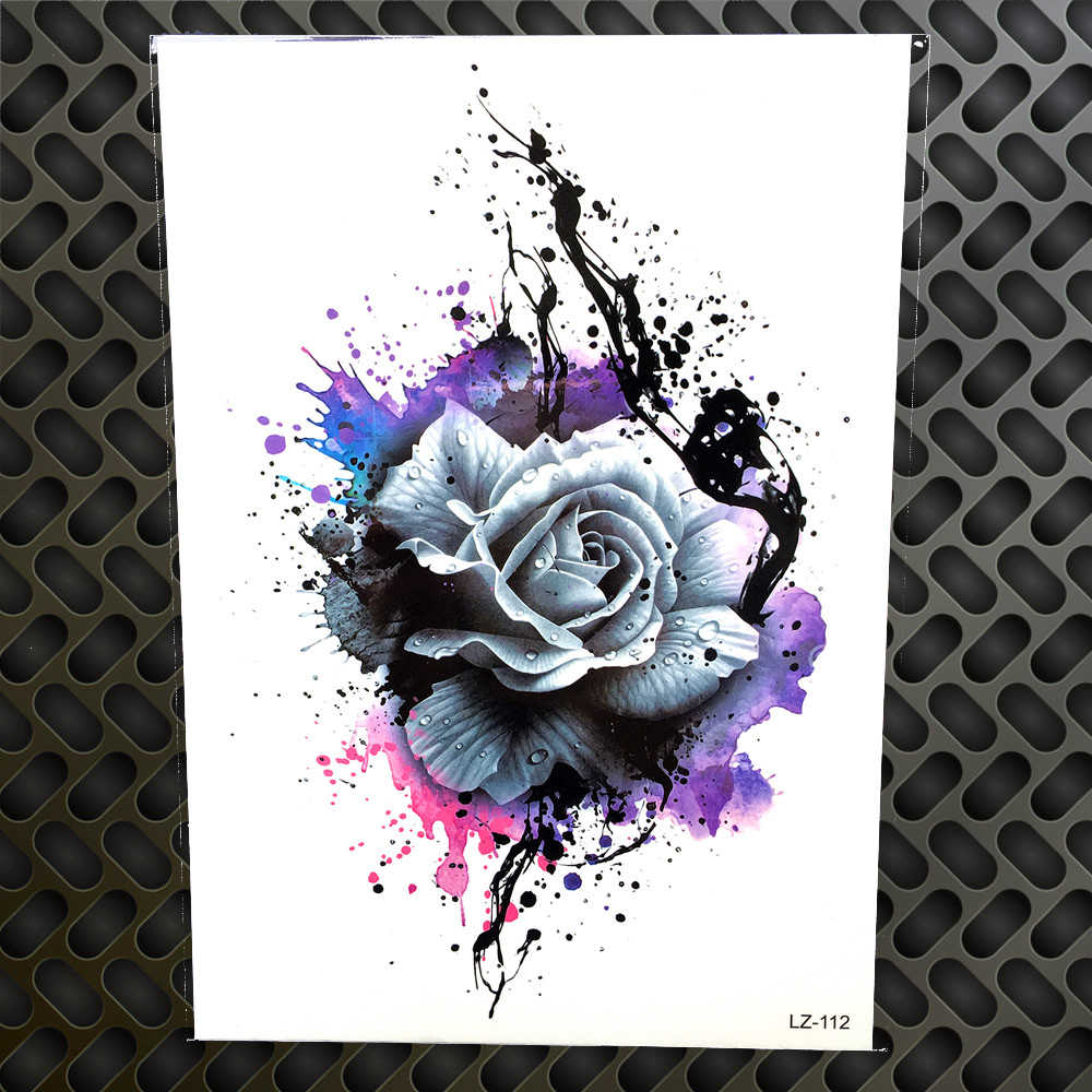 b79b998232a98 3D Watercolor Purple Rose Henna Temporary Tattoo Stickers Women Men Body  Art Large Arm Chest Tattoo