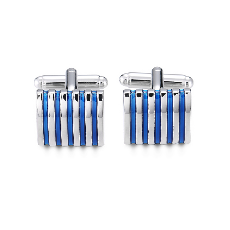 DY new high quality fashion men French shirt Cufflinks The classic design of Square Silver Blue Striped Cufflinks