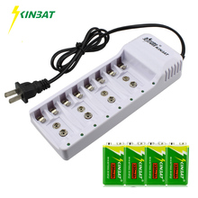 KINBAT 4pcs 9V 320mAh Ni-MH Rechargeable Battery 9 Volt NiMH Battery With 8 Slots Batteries Charger For Instrument Multimeter