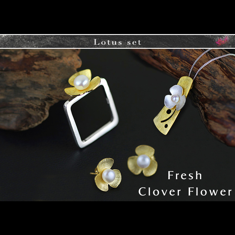 Lotus Fun Moment Real 925 Sterling Silver Natural Pearl Handmade Fashion Jewelry Square Fresh Clover Flower Jewelry Set Bijoux