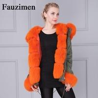 Wholesale Removable Faux Fur Lined Large Fox Fur Collar Cuff Trimming Jacket Parka Women Coat