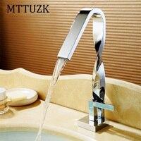 MTTUZK chrome Twist bathroom Faucet basin crane waterfall water faucet basin mixer Taps deck Mounted Sink Faucet brass torneira