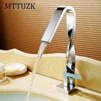 MTTUZK chrome Twist bathroom Faucet basin crane waterfall water faucet basin mixer Taps deck Mounted Sink Faucet brass torneira 1
