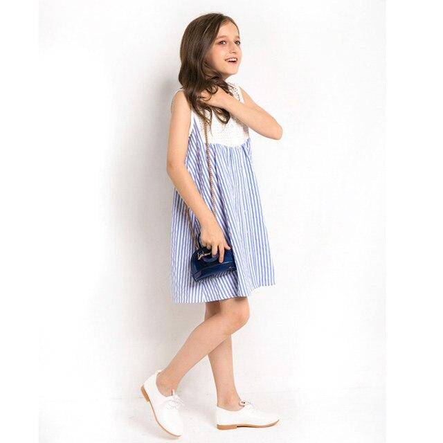 4b2939439 Fashion Girls Long Sleeveless Dress Striped Cotton Dress Teenage Girl  Clothing Spring Summer Dress 6 8 10 11 12 13 14 years
