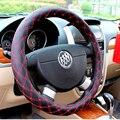 Красный руль, Кожаный Руль Автомобиля покрытие Автомобиля охватывает 38 см рулевого колеса Обложки Черный колесный колпак